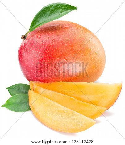 Mango fruit and mango slices. Isolated on a white background.