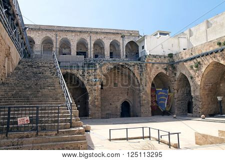 ACRE ISRAEL - MARCH 02 2016: The courtyard in the city of the Crusaders in Acre