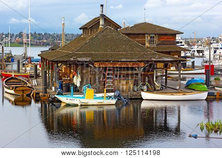 SEATTLE USA - MARCH 22: Center for Wooden Boats museum at cloudy sunset on South Lake Union in Seattle on March 22, 2016.