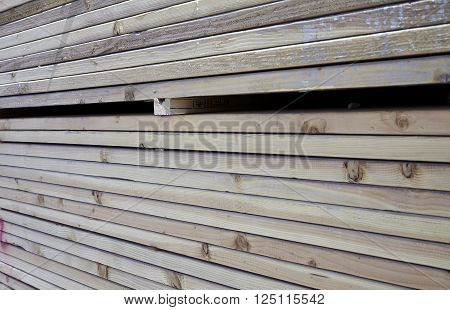 Wood Lumber Boards Stacked For Building Industry