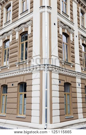 photographed close-up of the Grodno synagogue. Synagogue at the time of restoration