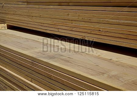 Wood Lumber Boards Ready For Building Industry