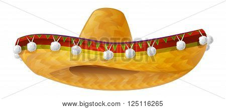 Mexican hat. Mexican wide brimmed hat sombrero. Isolated on white vector illustration