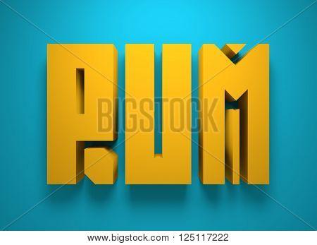 Drink alcohol beverage. Rum word lettering. 3D rendering
