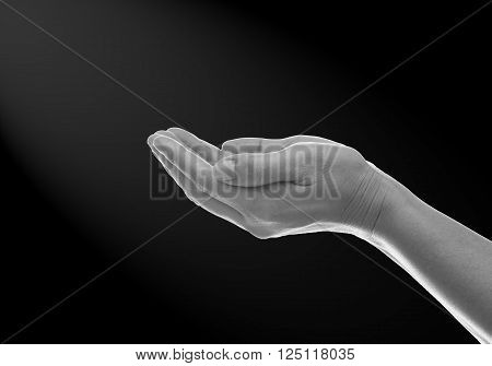 The color scheme of black and white hands in prayer.