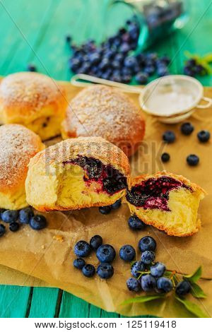 Homemade blueberry stuffed brioches cakes