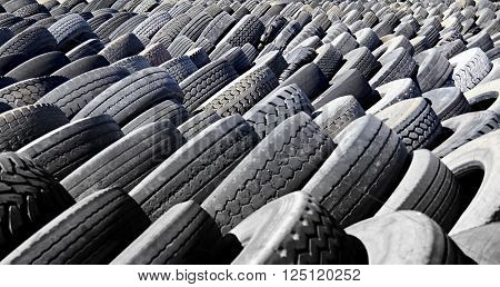 Rubber Tires Ready For Bulk Waste Recycling