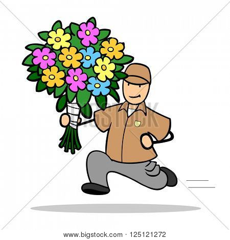 Running cartoon man delivering bouquet of flowers worldwide online
