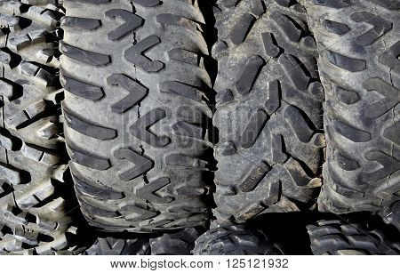 Used Atv Utv Off Road Tires Closeup For Recycling