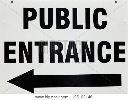 public entrance direction sign building street signage