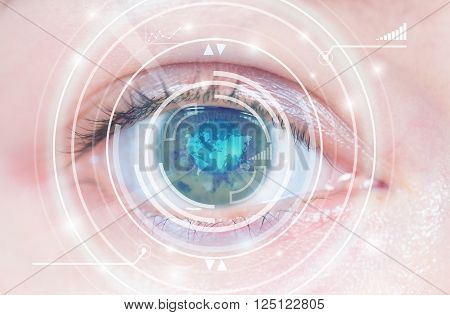 Close-up of woman's blue eye. High technology in the futuristic. scan, contact lens