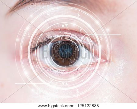 Close-up of woman's brown eye. High technology in the futuristic. scan contact lens