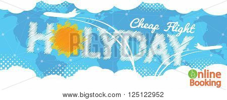 Cheap Flight For Sale 1500x600 Pixel Banner Vector Illustration. EPS 10