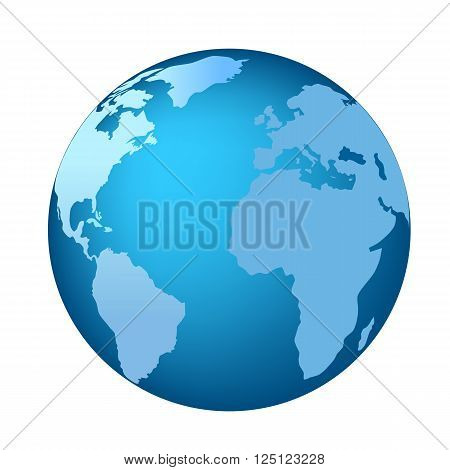 Blue globe with Americas Africa and Europe