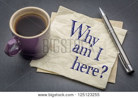 Why am I here question  - handwriting on a napkin with cup of coffee against gray slate stone background