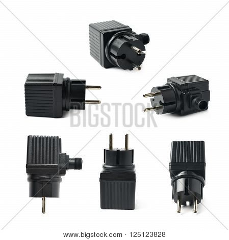 Black plastic electric adapter isolated over the white background, set collection of six different foreshortenings