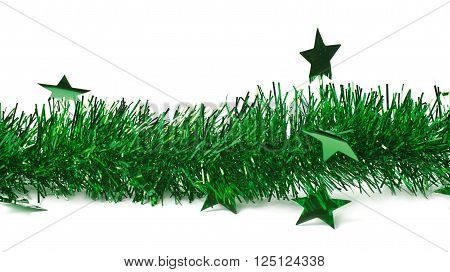 Line of a tinsel decorational Christmas green garland isolated over the white background