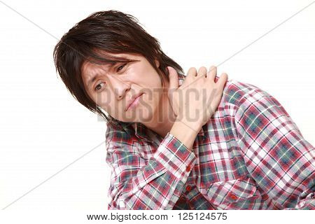 portrait of Japanese man suffers from lumbago