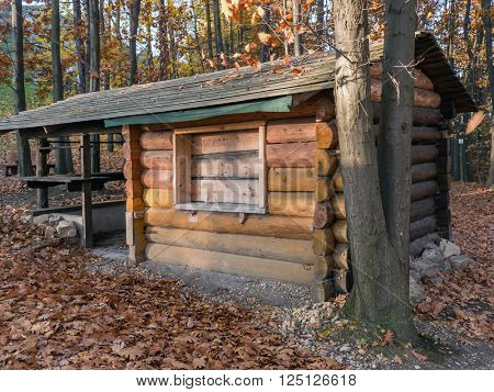 Wooden rustic camping lodge in the forest