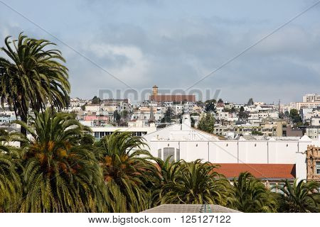 View of San Francisco buildings from Liberty hill