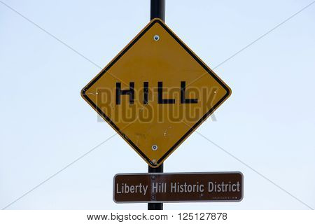 San Francisco sign of Hill - Liberty hill historic district