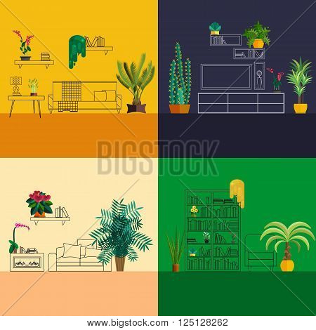 interior with flowers decoration in hall of modern house. Homeplant in modern interior. Design of flowers in home interior. Plant design in outline room. Home plant interior sketch