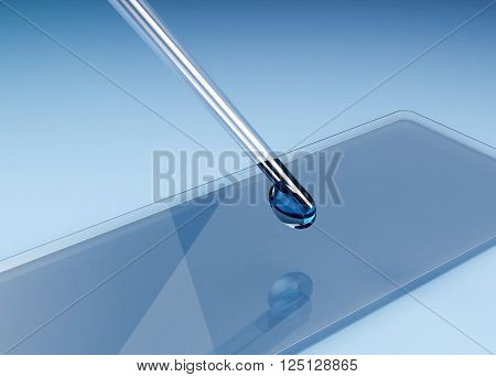 Glass Slide For Microscope With A Pipette