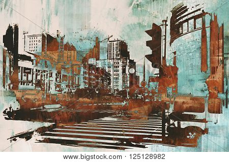 urban cityscape with abstract grunge, illustration painting