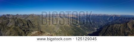 Panorama of the Pyrenees mountains in Andorra from top of Coma Pedrosa peak.