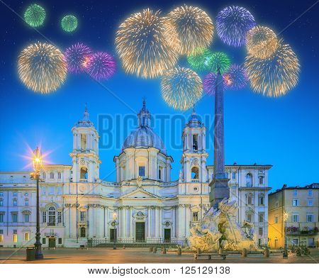 Beautiful fireworks under Fountain of the Four Rivers, Piazza Navona Fontana di Quattro Fiume and church Sant'Agnese in Agone, Rome, Italy.