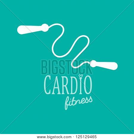 Cardio Training flat icon vector illustration, eps10, easy to edit jump rope logo. White on blue background