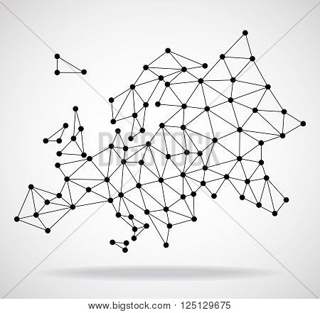 Polygonal map of Europe with dots and lines, network connections, vector illustration