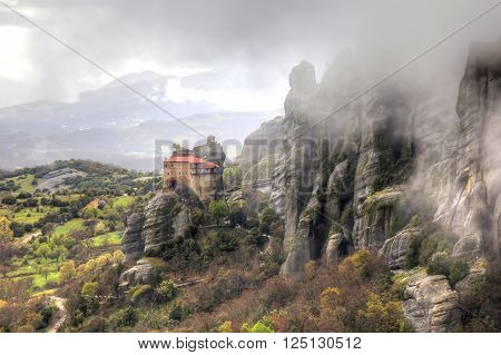 Panorama. Holy Monastery of Saint Nicholas Anapausas built in the 16th century in a monasterial complex Meteora