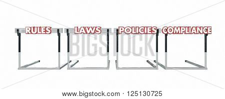 Rules Laws Policies Compliance Jumping Hurdles Legal Business