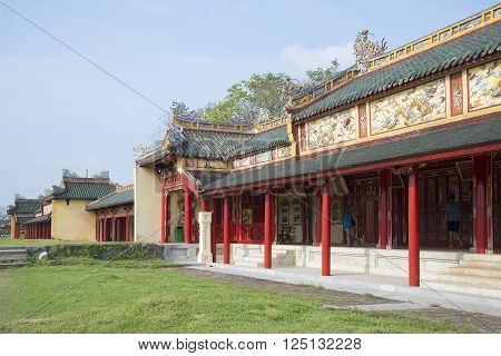 HUE, VIETNAM - JANUARY 07, 2016: Gallery of the Palace of the forbidden Imperial city. Historical landmark of the city Hue, Vietnam