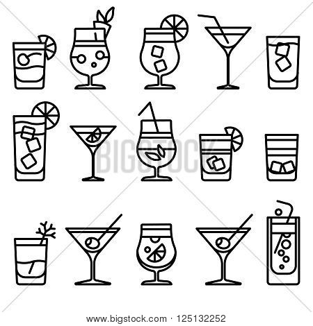 Cocktail thin line icons. Alcohol cocktails drinks vector outline symbol or party cocktail signs
