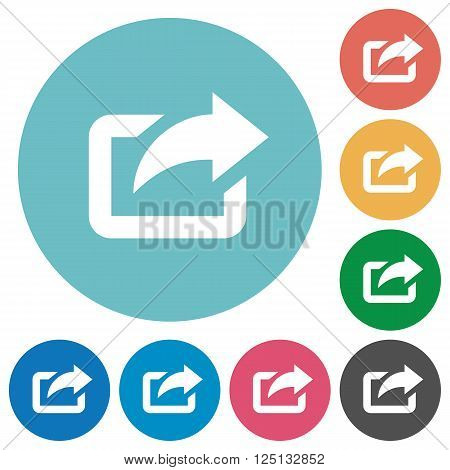 Flat export icon set on round color background.