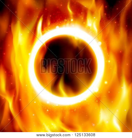 Fire show banner. Ring of fire. Vector illustration. Abstract background with fire flames and copyspace. Fiery circle on poster for the circus. Blazing hoop