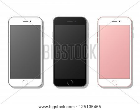 Three realistic mobile phone, smartphone. Isolated on white background with shadows. Vector illustration.