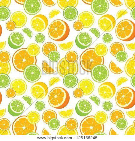 Vector seamless background of lemon, orange, lime slices on white background