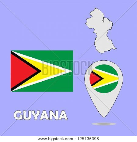 A pointer map and flag of Guyana