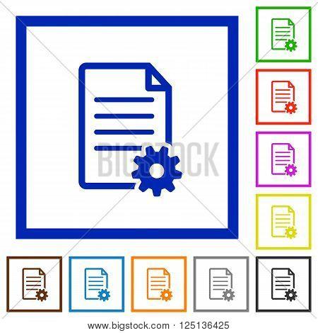 Set of color square framed Document setup flat icons on white background