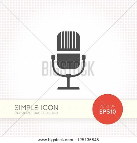 Flat microphone icon. Flat microphone icon eps. Flat microphone icon vector. Flat microphone icon image. Minimalistic microphone icon.