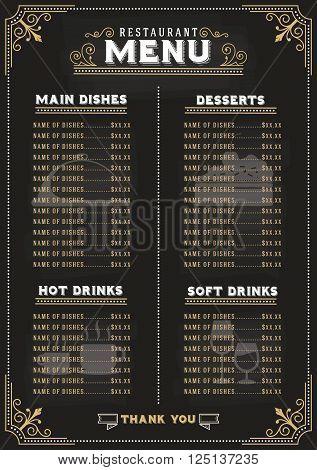 Luxury food menu on chalkboard background for restaurant. Vector illustration