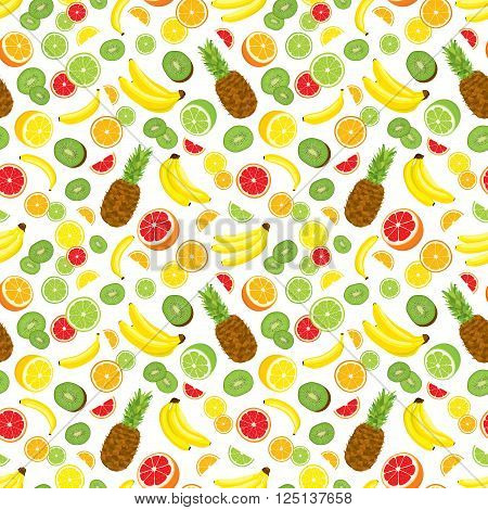 Seamless background with whole pineapple, fresh green kiwi slices, citrus fruits and bananas. Vector illustration on white background