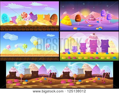 Candy game background 2d game application. Vector design. Tileable horizontally. Size 1024x512. Ready for parallax effect