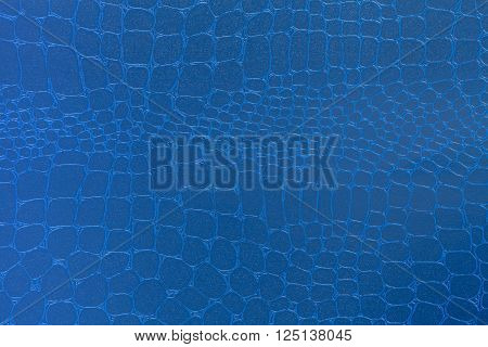 Blue leather texture background. Closeup photo. Reptile skin. The skin of a crocodile or a snake