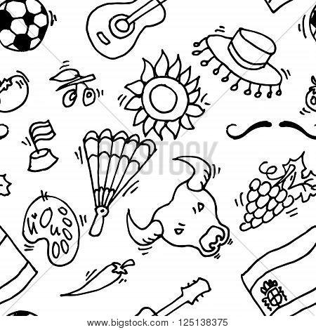 Love Spain, doodles symbols pattern of Spain. Vector illustration, EPS 10