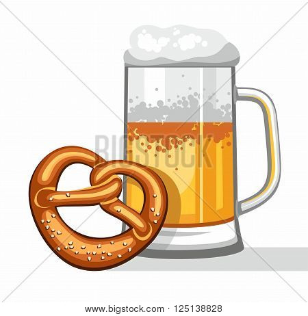 Poured into a mug of light beer. Mug leaned on the salty pretzel. Vector picture. Color flat illustration on white background.
