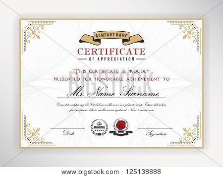 Certificate template design with emblem flourish border on white background || A4 size +Bleed